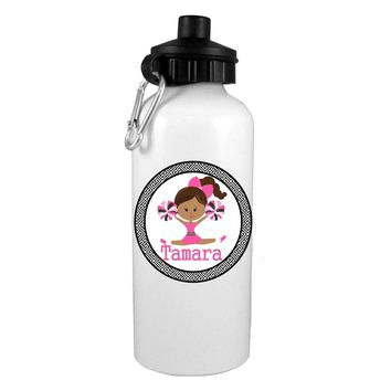 Black Hair Fashion Cheerleader Personalized Water Bottle