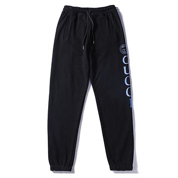 GUCCI autumn and winter new side letter logo printing casual beam pants F-A-KSFZ black