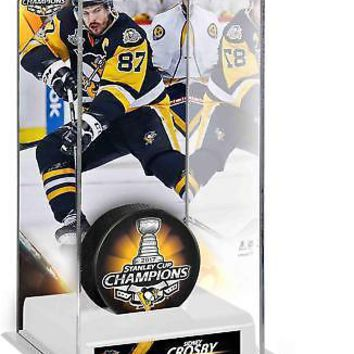 Sidney Crosby Penguins 2017 Stanley Cup Champs Tall Hockey Puck Case - Fanatics