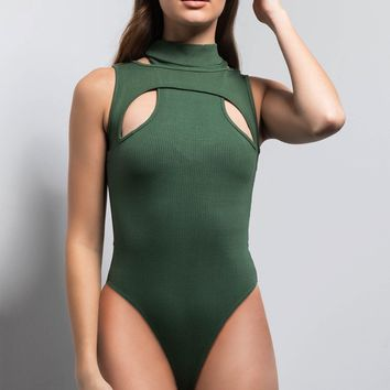 AKIRA Label Sexy Cutout Bodysuit in Olive