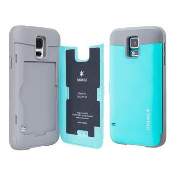 Galaxy S5 Case, TORU [CX PRO] - [CARD SLOT] [ID Holder] [KICKSTAND] Protective Hidden Wallet Case with Mirror for Samsung Galaxy S5 - Cyan