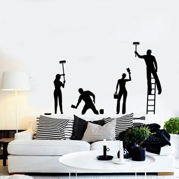 Vinyl Decal Wall Stickers Man People Painting The Wall Decor For LIving Room (z1686)