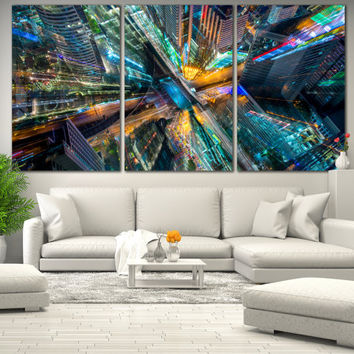 Abstract City Wall Art - City of Art Photo on Canvas, Abstract Printable Wall Art for Home or Office Decoration