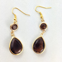 Brown Glass Earrings Bride Bridal Wedding Jewelry