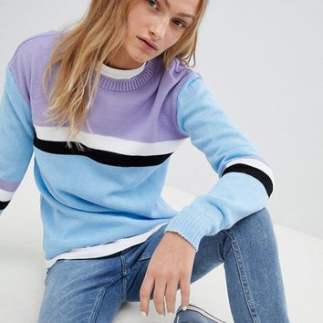 Daisy Street Relaxed Jumper With Colour Block Stripe at asos.com