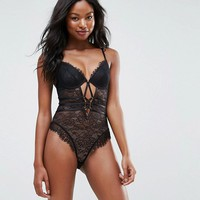 ASOS Missy Underwired Lace Body With Cross Detail at asos.com