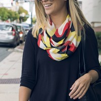 Chevron (Red, White, Yellow & Black) / Infinity Scarf
