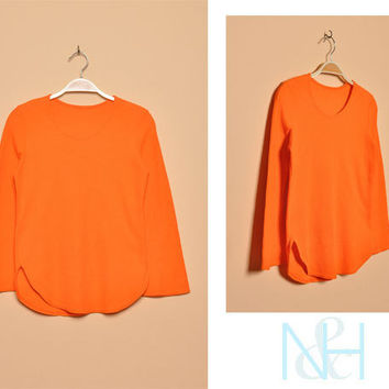 Vintage 1990s Ribbed Orange Shirt with Long Sleeves
