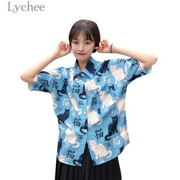 Lychee Harajuku Cat Letter Print Blouse Short Sleeve Turn Down Collar Shirts Casual Loose Blouse Tops Female
