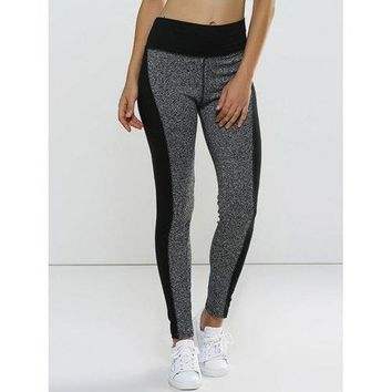 Color Block Supper Stretched High Waisted Leggings - Gray L