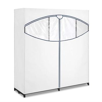 60-inch Wide Zippered Clothes Closet Wardrobe in White