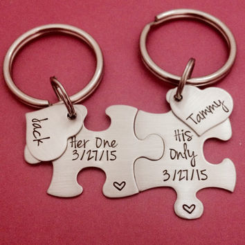 Puzzle Piece Key Chain Set His and Hers Her One His Only Gift For Him