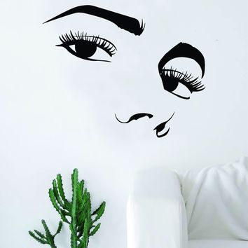 Girl Eyes and Nose Silhouette Beautiful Design Decal Sticker Wall Vinyl Decor Art Eyebrows Eyelashes Lashes Make Up Cosmetics Beauty Salon MUA