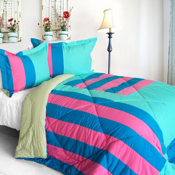 Great Hometown Quilted Patchwork Down Alternative Comforter Set in Full/Queen Size