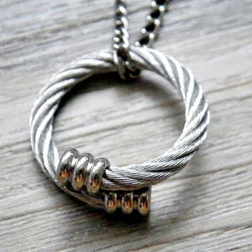 twisted cable wire promise ring necklace