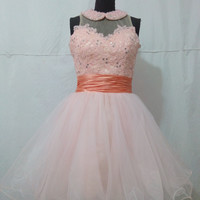 Halter Pearls Lace Beaded Coral Party Dress For Teens