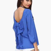 Backless Puff Sleeve Bow Chiffon Blouse