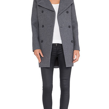 Soia & Kyo Jill Flat Wool & Faux Fur Coat in Gray