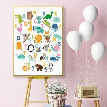 Simple Cute English Animal A4 Canvas Painting Posters And Prints Picture Wall Art Baby Room Children's Bedroom Home Decoration