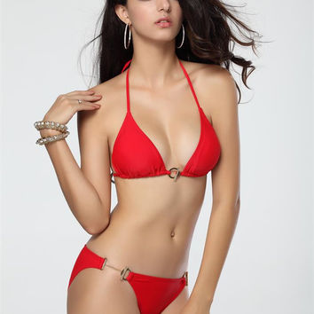 Red Halter Push Up Triangle Bikini