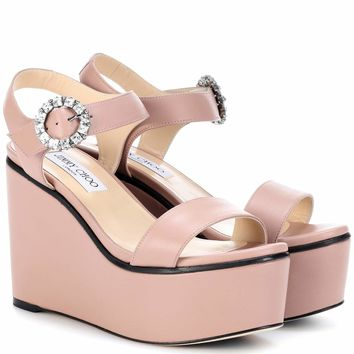 Nylah 100 leather wedge sandals