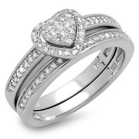 0.23 Carat (ctw) White Diamond Ladies Heart Shaped Engagement Ring Set 1/4 CT