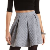 Quilted & Pleated Skater Skirt by Charlotte Russe