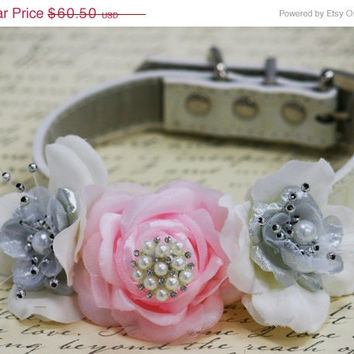 Pink and silver Floral Dog Collar, Pink Pet Wedding Accessory, Floral Collar, Pink and silver Wedding idea, dog lovers, dog birthday gift
