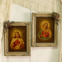 Vintage Jesus Virgin Mary textured prints framed pair Sacred Heart of Jesus Christ Immaculate Virgin Mary shabby chic french home wall decor