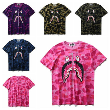 Camouflage short sleeved men and women loose large code collar [10141569927]
