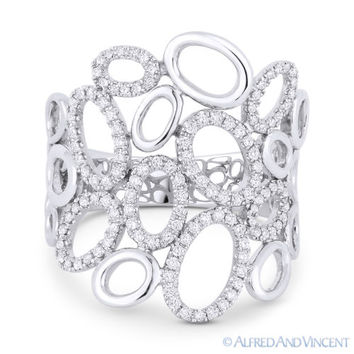 0.35ct Round Diamond Pave Right-Hand Oval Cluster Fashion Ring in 14k White Gold