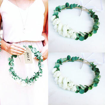 Eucalyptus crown Eucalyptus wreath Greenery Crown  Greenery Bridal Flower Crown Bridesmaids Flower crowns Flower girl headpiece etsy