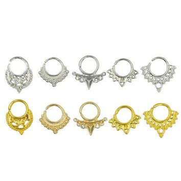 ac PEAPO2Q 5pcs Assorted Tribal Septum Clicker Piercing Indian Nose Ring Hoop CZ Gem  Body Jewelry