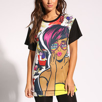 White Studded Pop Art Graphic Tee