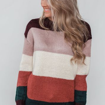 Only Want You Color Block Knit Sweater - Multi-Colored