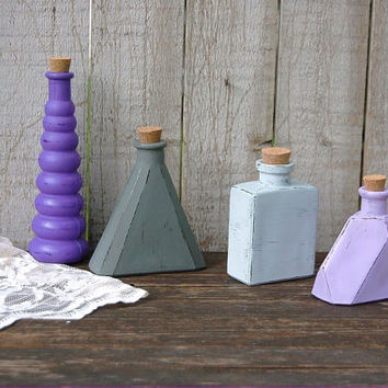 Decorative Bottles, Shabby Chic Decor, Purple, Lavender, Grey, Hand Painted, Distressed, Glass