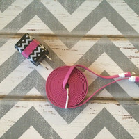 New Super Cute Black & White ZigZag Design Dual USB Wall Charger + 6ft Flat Hot Pink Iphone 5/5s/5c Cable Cord
