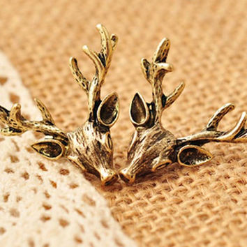 Retro Bronze Deer Antlers Earrings Vintage Ear Stud Earings For Women Jewelry  SM6