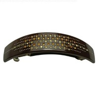 Elegant Starry Rows Crystal Rhinestone Hair Barrette - Chocolate Brown