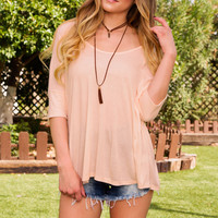 Carrie Oversized Top - Peach