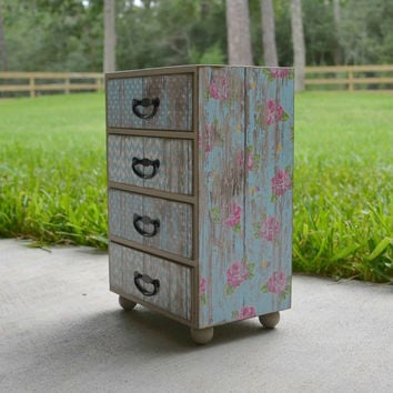 Shabby chic jewelry box, teal turquoise blue weathered barn wood with pink roses, storage keepsake box, handmade decoupage wood box
