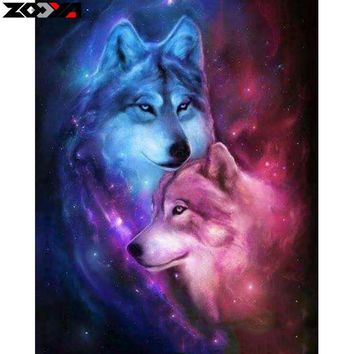 Rhinestone painting crystal Home Decor 5D diy Diamond painting wolf brother 3D cross stitch pattern diamond embroidery animal TJ