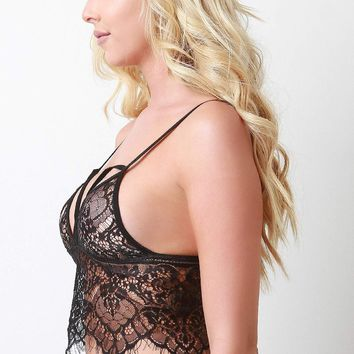 Scallop Eyelash Lace Longline Bralette Top
