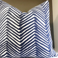 China Seas Quadrille Pillow, Zig Zag Pillow Cover Navy on Tint, Alan Campbell 20x20