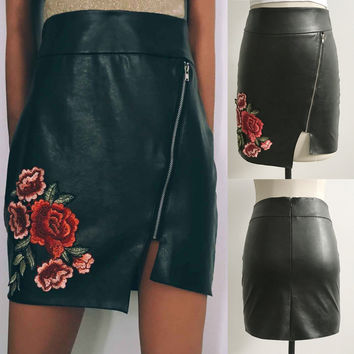 Fur Floral Zippers Irregular High Waist Sexy Slim Skirt [11136605839]