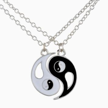 2018 New Fashion Drop shipping 1Set Best Friends Ying Yang Necklaces Two Bagua Charm Pendant Necklaces for gifts