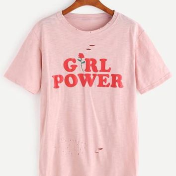 Girl power rose print tshirt