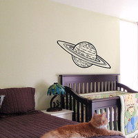 KIDS WALL ART STICKER BABY ROOM NURSERY BOY GIRL BEDROOM SATURN PLANET 23