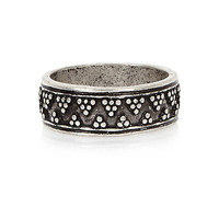 River Island MensSilver tone ethnic engraved ring