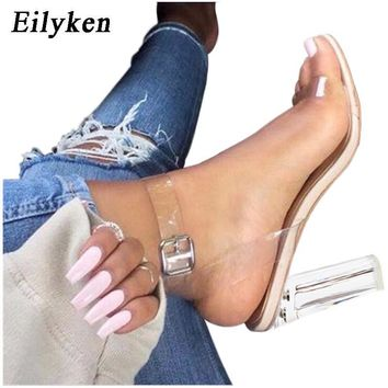 PVC Jelly  Open Toed Thick High Heels